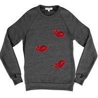 sweatshirt, women's wear, comfy shirt, lips, customizable, unique clothing, comfort, weekend wear