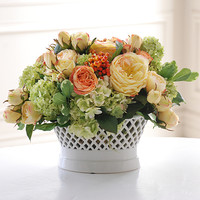 Mixed Rose Planter 13 in. by Jane Seymour Botanicals yellow green