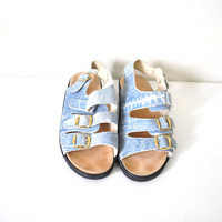 size 8 grunge denim look birkenstock leather sandals