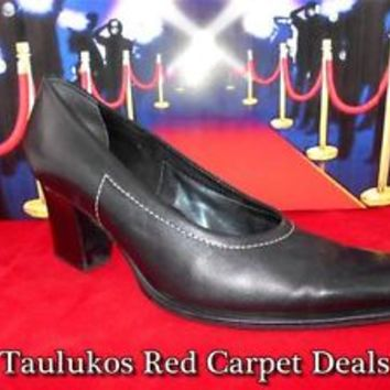Women shoes Italian Designer FRANCO SARTO Chunky High Heel Pumps LEATHER 7.5 M