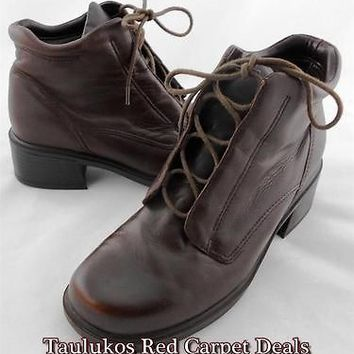 Womens shoes EARTH SPIRIT Brown LEATHER Ankle Boots Booties  Chunky Heels 7.5 M