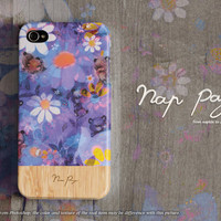 Apple iphone case for iphone iphone 5 iphone 5s iphone 5c iphone 4 iphone 4s iPhone 3Gs : sweet violet flowers with wood(not real wood)