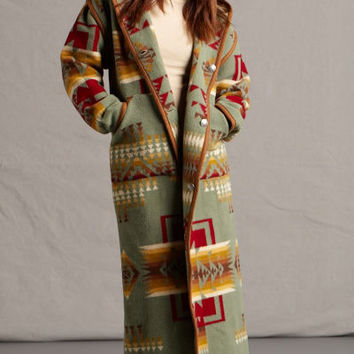 Native American Jackets for Women, Chief Joseph Long Coat, Sage, Reversible Pendleton® Fabric