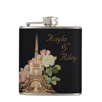 Paris Pink Rose Black Vintage Wedding Flask
