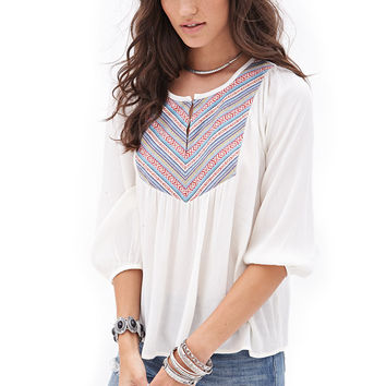 FOREVER 21 Tribal-Inspired Peasant Top Cream/Rust