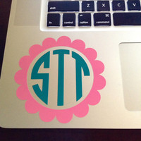 "4"" Scallop Monogram in Two Colors Laptop Decal"