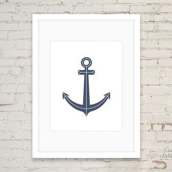 Navy Blue Anchor DIY Hipster Art Print