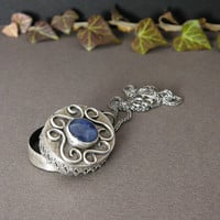 Silver Pendant Locket with Blue Kyanite Stone by MadeBySunflower
