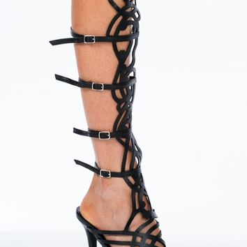 Deco Cut-Out Gladiator Heels