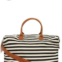 LULUS Exclusive Jet Setter Cream and Black Striped Weekender Bag