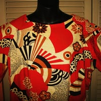 Amazing LOUNGEES Oriental Style Long  Batwing Caftan Dress W Fans & Flowers Size S Cotton