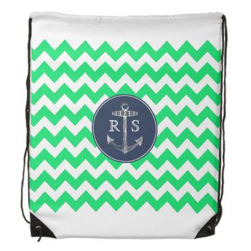 Anchor Green Chevron Navy Monogram String Backpack