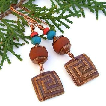 Copper Labyrinth Handmade Earrings Terracotta Lampwork Turquoise OOAK