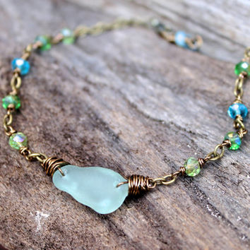 Sea Glass Anklet - Hawaiian Jewelry - Beach Boho Seaglass Jewelry from Hawaii - Beach Glass Ankle Bracelet - Ocean Inspired Gypsy Anklet