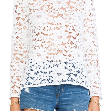 Alexis Anguilla Open Back Lace Blouse in Ivory