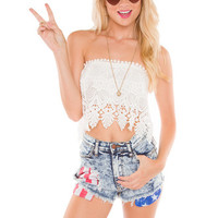 Wicked Sweet Lace Crop Top - White