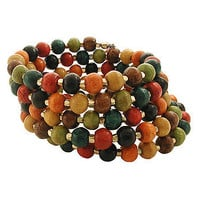 Multi Dyed Wood Wrap Bracelet at the Bibelot Shops