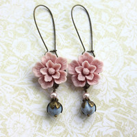 A Pink Sakura Flower Soft Blue Opaque Melon Glass Bead by Marolsha