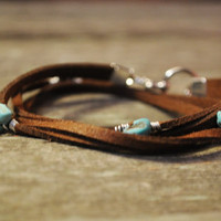 Genuine Brown Suede Wrap Bracelet by ThePrettyDoGood on Etsy