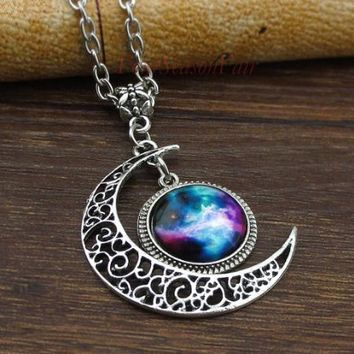 Necklace,bib Necklace, Moon Necklace ,Charm Necklace,silver Hollow Star Galactic Cosmic Moon Necklace,friendship Christmas Gift:Amazon:Jewelry