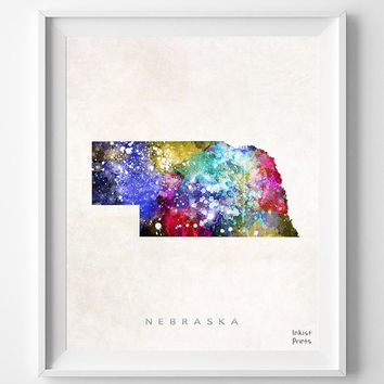 Nebraska Map, Lincoln Poster, Painting, Watercolor, Nursery, Room, Home Town, Wall Art, USA, States, America, Decor, Gift [NO 362]