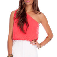 Fun Day Romper in Coral and White :: tobi
