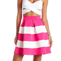 COLOR BLOCK PLEATED FULL MIDI SKIRT