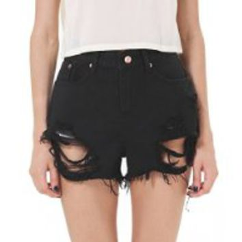 KCLOTH Black Pockets Ripped Denim Shorts