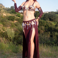 Ameynra BELLY DANCE COSTUME, Burgundy Gold Pearl, Size S, new