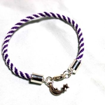 Purple and White Kumihimo Braided Bracelet with Sleepy Moon Charm