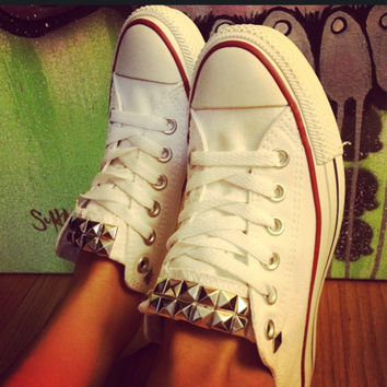 Custom Studded White Converse All Star Low Cuts-Chuck Taylors! ALL SIZES & COLORS!!!