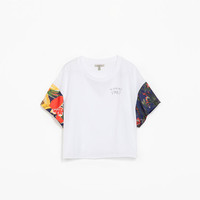 WAIKIKI T-SHIRT WITH PRINTED SLEEVES