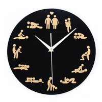 Fashion Modern Design Sex Culture Art Quartz Wall Clock Home Decor (Black)