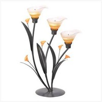 Amber Lilies Tealight Holder  38947 - Jars &amp; Holders