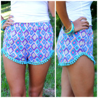 Kaleidoscope Eyes Mint & Purple Pom Pom Shorts