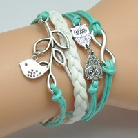 AONIMEI Fashion Lady Retro Infinity Wings Owl Strands Suede Rope Bracelet Gift:Amazon:Arts, Crafts & Sewing