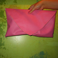 Large Pink Vegan Leather Envelope Clutch by SugarMagnoliaSouth
