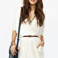 Draped Across Dress in Cream