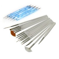 15Pcs Nail Art Design Painting Drawing Brushes White + 5 X 2 Way Marbleizing Dotting Pen Tools Set:Amazon:Beauty