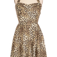 Heartbreaker Halter Dress in Leopard