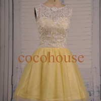 White Lace Yellow Skirt Short Prom Dresses Fashion Bridesmaid Dresses Homecoming Dresses Evening Dresses Wedding Party Dresses Party Dress