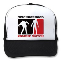 Neighborhood Zombie Watch - Red Trucker Hats from Zazzle.com