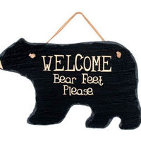 Bear Feet Welcome Slate : Log Cabin Styles
