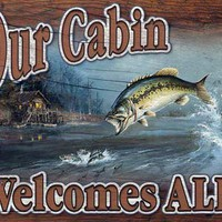 Our Cabin Welcomes All Tin Sign : Log Cabin Styles
