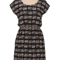 elephant print bar back chiffon dress