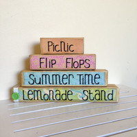 Summer time wooden stacker- Picnic, lemonade stand, summer time, flip flops- summer decor wooden blocks shabby chic