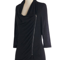 ModCloth Mid-length 3 Portside Greeting Cardigan in Black