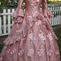Dusty Rose Floral Sparkle Fantasy Marie Antoinette Princess Gown Small/medium