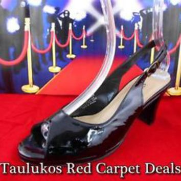 Womens shoes CLOUDWALKERS Black LEATHER high heels Slingback Pump peep-toe 8 W