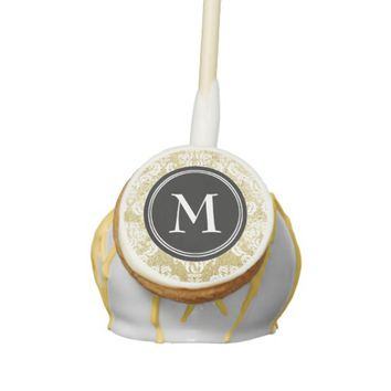 Gold Glitter Damask Black Monogram Cake Pops